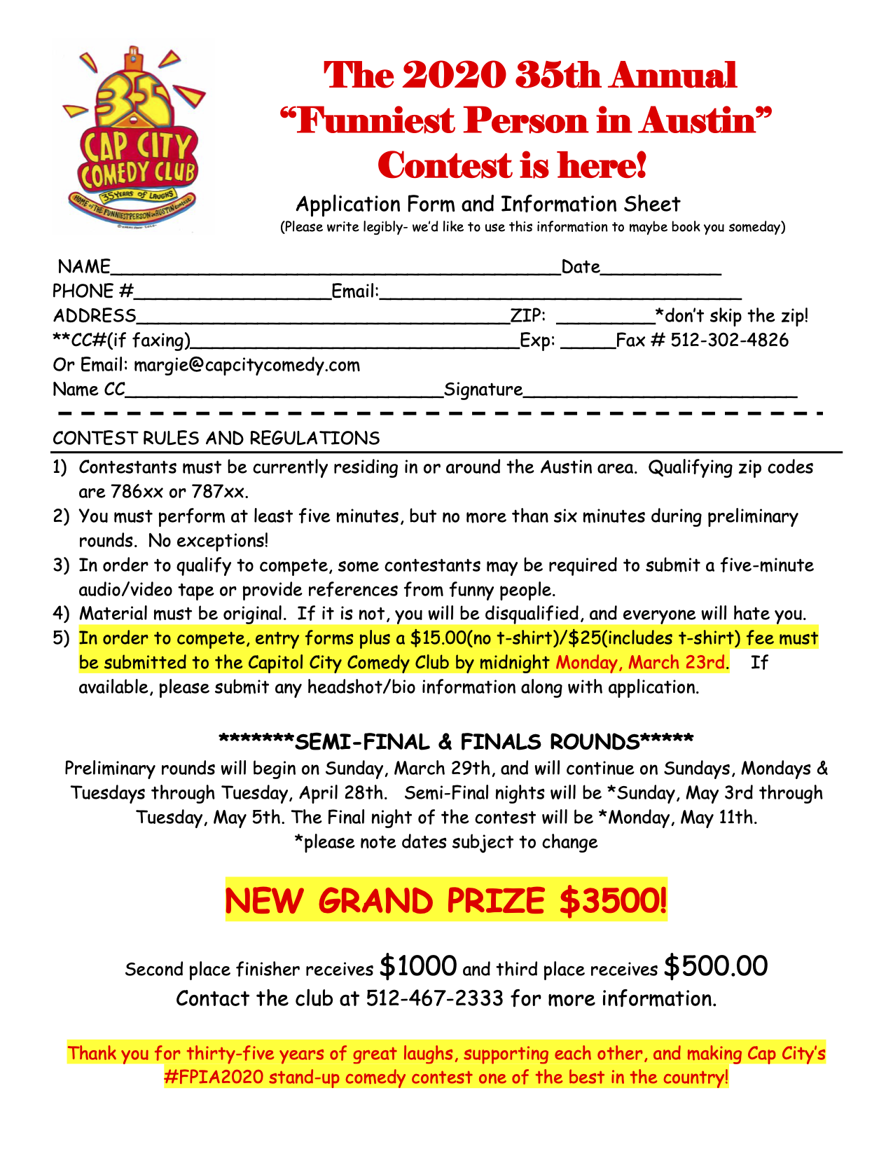 Sign-up form for FPIA competition.